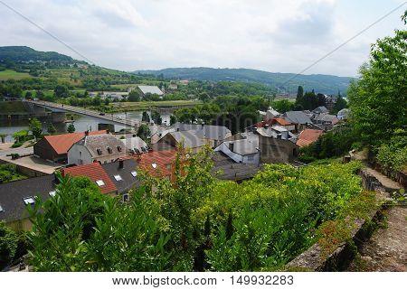 View over Schengen town in Luxembourg in summer.