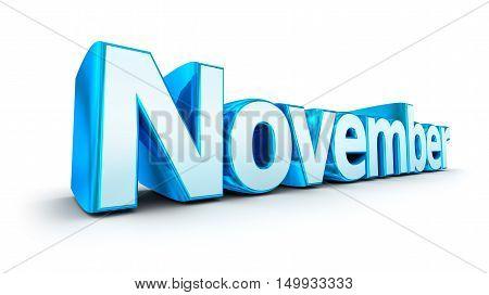 Word November 3d concept over white,3D render