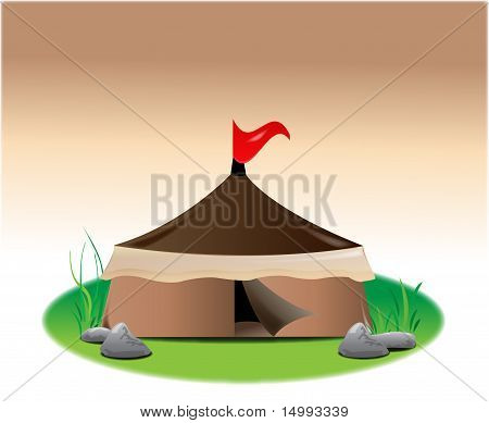 Tent With Red Flag