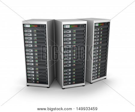 IT server grid over white , 3D render