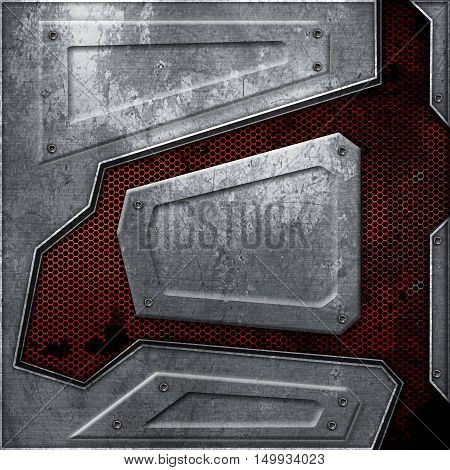 scifi wall. rust metal wall and red mesh. metal background and texture 3d illustration. technology concept.