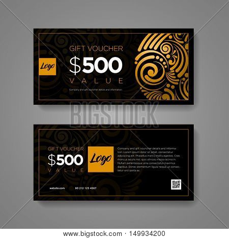 Gift Voucher design template. Luxury gold and black scroll pattern. Elements are layered separately in vector file.