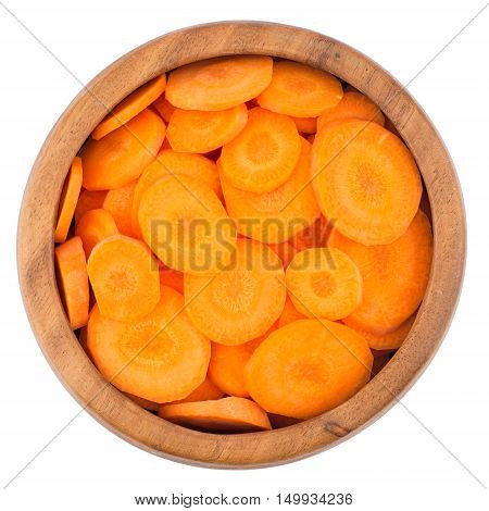 Sliced carrots isolated on white background. Top view.