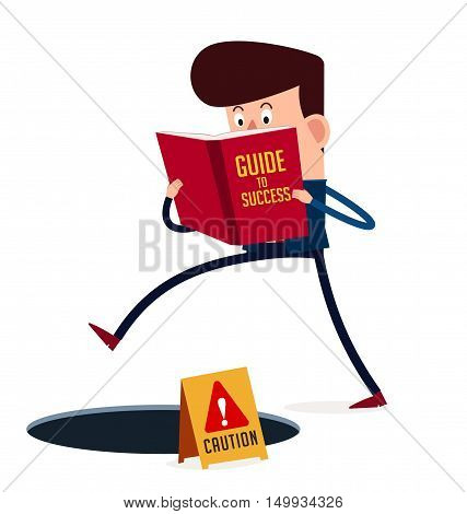 young businessman don't see threat in his step because of concentrate on his reading