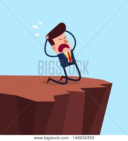 young businessman get desperated and kneeling in the cliff