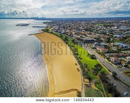 Aerial View Of Brighton Beach And Melbourne Cbd In The Distance