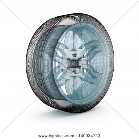 Wheel wire model. My own design,3D render
