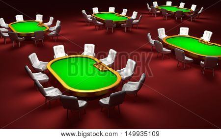 Poker room Poker tables with chairs in the interior