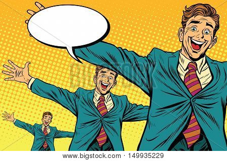 Meeting other happy people, pop art retro vector illustration. Businessman widely placed arms for a hug