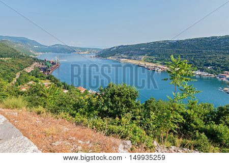 Aerial panoramic view to the seaport in Istra, Croatia