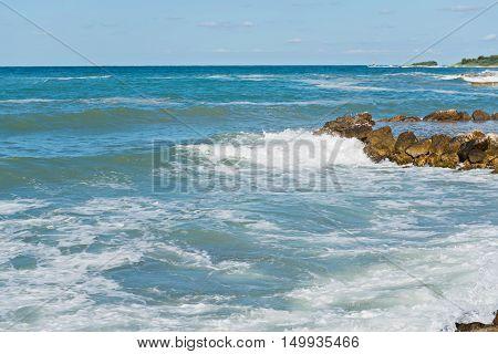 High waves on the sea in Istria, Croatian coast