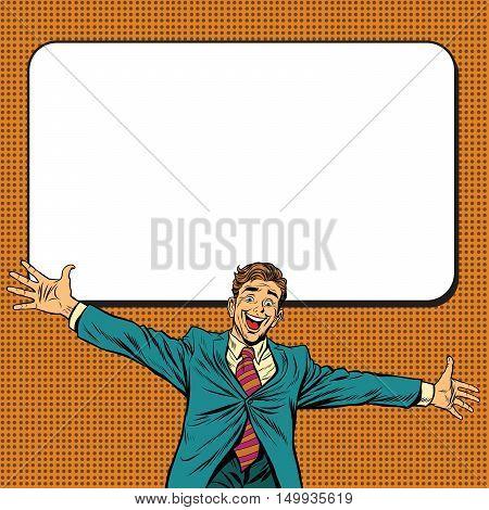 Happy businessman welcomes on white background, pop art retro vector illustration