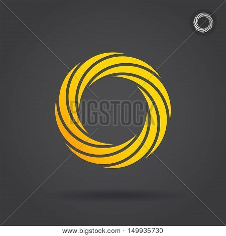 Gold segmented circle single icon 2d vector illustration on dark background eps 10