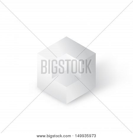 Cubic geometric figure with white edges conctruction logo concept 3d vector illustration with mesh shadow on white background eps 10