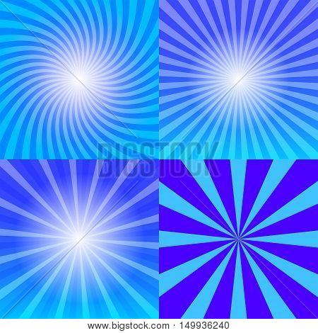 Sunray background set four variants of blue sun rays 2d vector illustration eps 10