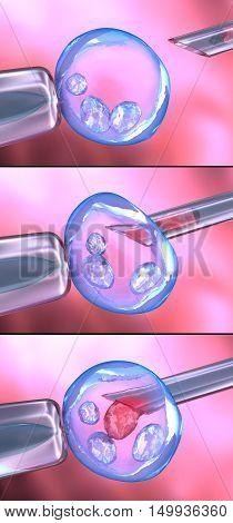 Artificial insemination process , 3D render ,