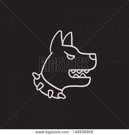 Aggressive police dog vector sketch icon isolated on background. Hand drawn Aggressive police dog icon. Aggressive police dog sketch icon for infographic, website or app.