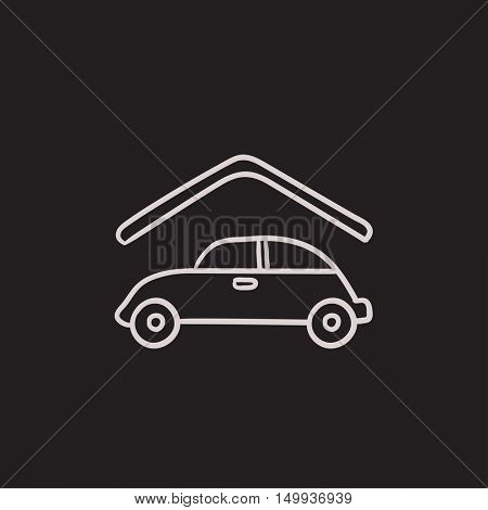Car garage vector sketch icon isolated on background. Hand drawn Car garage icon. Car garage sketch icon for infographic, website or app.