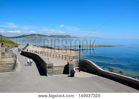 LYME REGIS, UNITED KINGDOM - JULY 18, 2016 - View along Gun Cliff Walk with the sea and coastline to the rear Lyme Regis Dorset England UK Western Europe, July 8, 2016.
