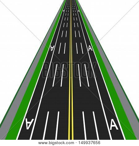 Direct road highway with markup. Dedicated lanes for public transport. Vector illustration
