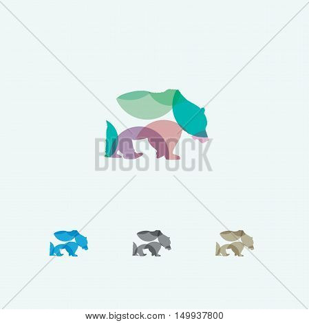 Bear logo, colorful bear vector, panda, wildlife