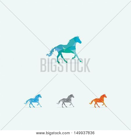 Horse logo, abstract speedy animal vector design, wildlife