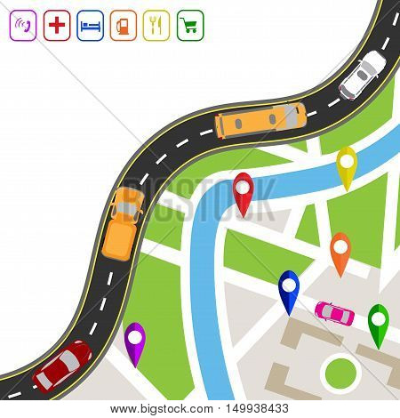 Road infographics. Winding road with markers on the map terrain. The path specifies the navigator. Displaying traffic car vector illustration