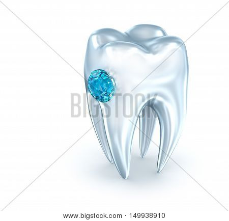 Tooth with blue diamond over white . 3D illustration