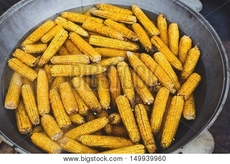 Country fair food cooking. Corns boiled outdoors in big metal bowl. Cookout vegetable meals. Fresh organic, healthy snack, corncobs cooked on grill flame. Street food, fast food.
