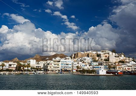 NAXOS, GREECE - SEPTEMBER 21, 2016: View of the Naxos town and its harbour on September 21, 2016.