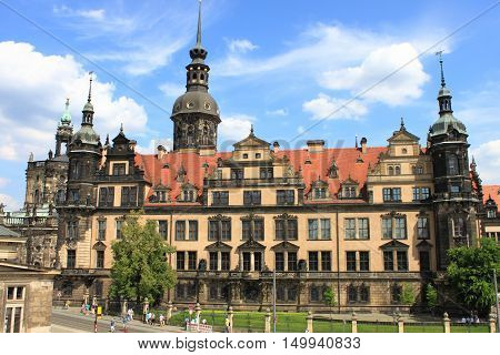 Panoramic view of the Royal Palace in Dresden, Germany