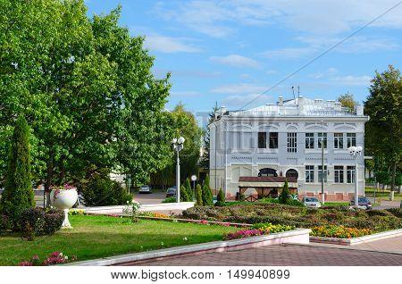 GOMEL BELARUS - SEPTEMBER 24 2016: Projects of architect S.D.Shabunevsky. Building on corner of Streets Biletskiy and Bauman Gomel Belarus