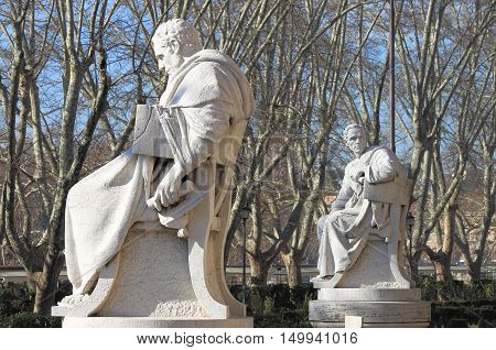 Statues of intellectuals in front of the Palace of Justice in Rome, Italy