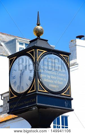 LYME REGIS, UNITED KINGDOM - JULY 18, 2016 - View of the Millennium Clock at Cobb Gate Lyme Regis Dorset England UK Western Europe, July 18, 2016.