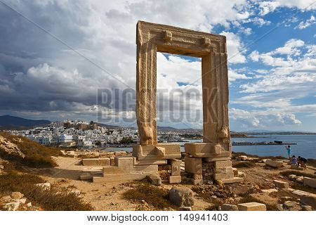 NAXOS, GREECE - SEPTEMBER 21, 2016: View of Portara and Naxos town on September 21, 2016.