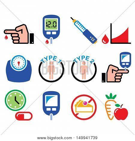 Diabetes disease, health, medical icons set  on white