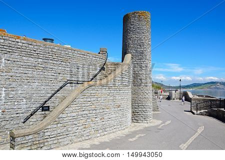 LYME REGIS, UNITED KINGDOM - JULY 18, 2016 - Round tower at Gun Cliff Walk along the promenade Lyme Regis Dorset England UK Western Europe, July 18, 2016.