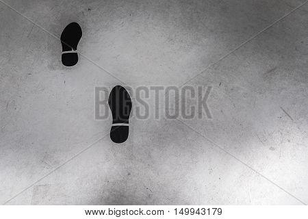 Brands Of Shoe Prints On The Floor