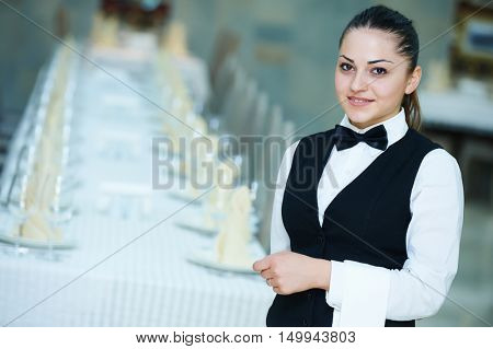 waitress at catering service in restaurant