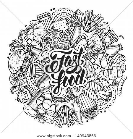Fast Food Round Design in Hand Drawn Style with Different Fast Food objects. Lettering Calligraphic Inscription Fast Food. All elements are separated and editable. Vector stock Illustration.