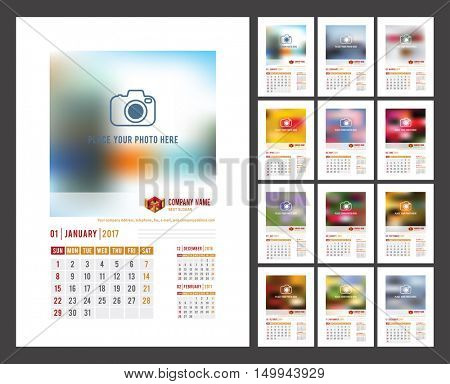Design of Wall Monthly Calendar for 2017 Year. Print Template with Place for Photo, Your Logo and Text. Week Starts Sunday. Portrait Orientation. Set of 12 Months. Stock Vector.