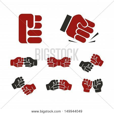 Isolated abstract red and black fists logo set. Banging fist logotype. Aggressive revolution sign. Human hand negative gesture symbol. Protest icon. Deaf people language element. Vector illustration