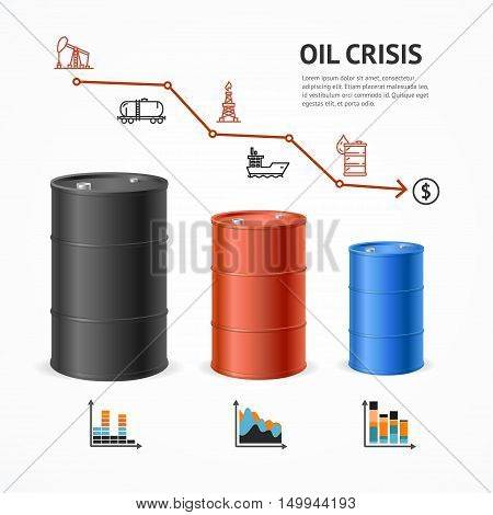 Oil Industry Crisis Graph Concept. Financial Market and Icons. Vector illustration
