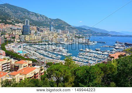 View over Port Hercule in Monaco, in summer