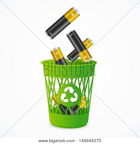 Recycling Battery Concept. Batteries Falling into Green Bin. Vector illustration