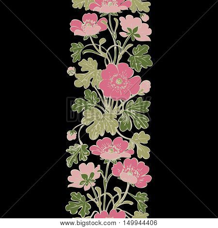 Floral bush retro on black background vector, hand drawn decorative flower vintage contour, closeup branch with flowers and buds print design