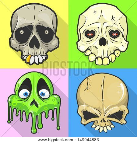 Set of skulls. Symbol of day of the dead or halloween. Spooky skeleton head. Flat design. Isolated vector illustrations
