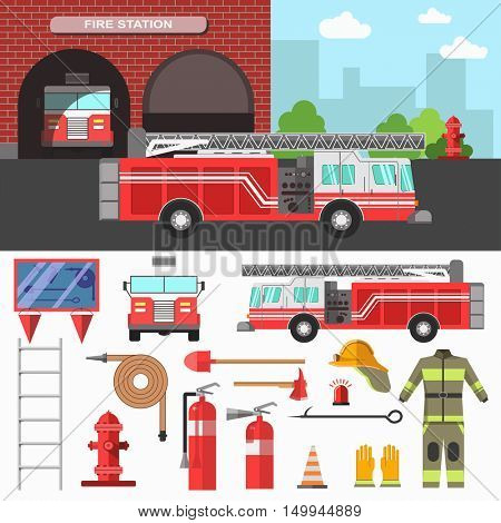Illustration with firefighting department and equipment set for rescue. Vector with hydrant and station, extinguisher and helmet, fireman uniform and mask. Flat style. Isolated on white background