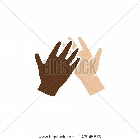 Isolated abstract dark and light skin human hands together logo. Giving high five black and white people hands logotype. International friendship sign. Equal rights symbol. Vector illustration