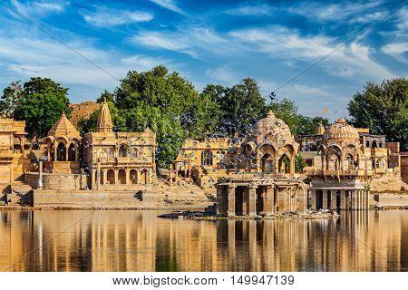 Indian tourist landmark Gadi Sagar - artificial lake. Jaisalmer, Rajasthan, India